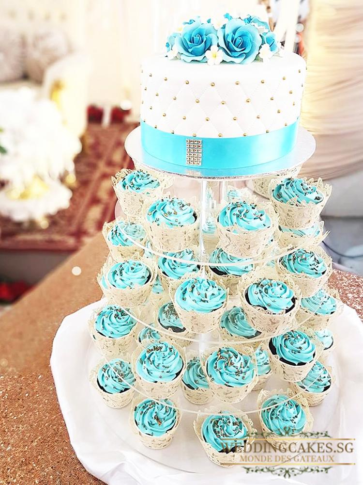 Multi Tiered Cupcakes And Miniature Cake Weddingcakes Sg