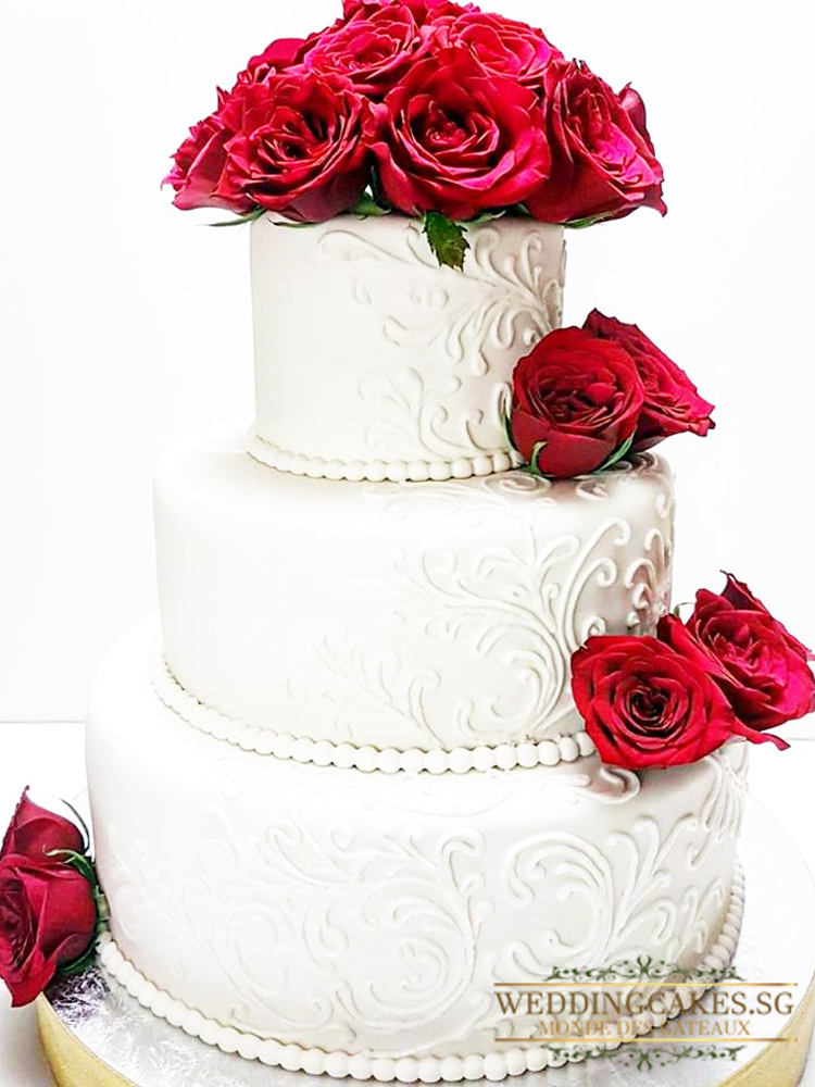 Crimson Rise1 - - Wedding Cakes Singapore